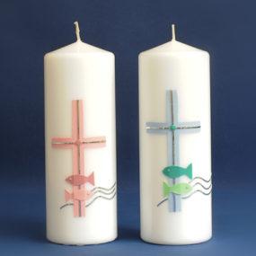 Tischkerze Kreuz mit Fischen (57)-0