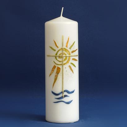 Tischkerze Sonne mit Kreuz (92)-0