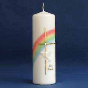 Tischkerze Regenbogen mit Kreuz und Taube (106)-0
