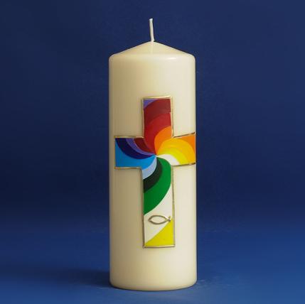 Tischkerze Regenbogenkreuz (104)-0