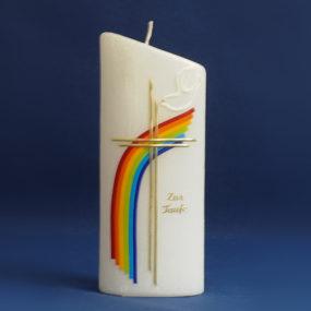 Tischkerze Taufe Regenbogen (176)-0