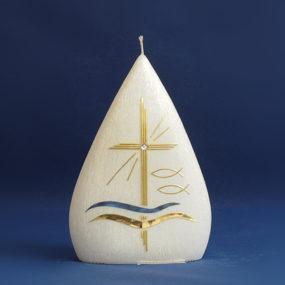 Tischkerze Kreuz / Wasser / Fische (105)-0