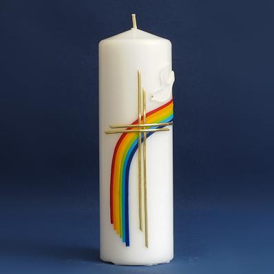 Tischkerze Regenbogen mit Kreuz (102)-0