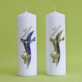 Kommunionkerze modernes Kreuz mit Kelch (111)-0