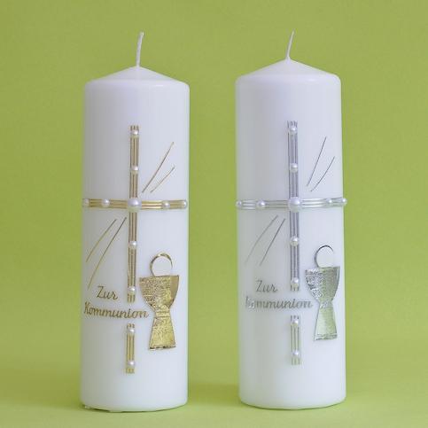 Kommunionkerze Kreuz mit Perlen und Kelch (114)-0