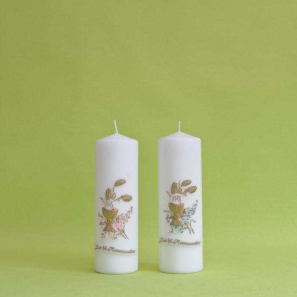 Kommunionkerze Kelch mit Blumen (117)-0