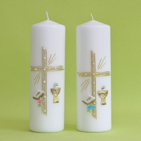 Kommunionkerze Kreuz mit Perlen, Bibel und Kelch (120)-0
