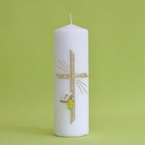 Kommunionkerze Kreuz mit Perlen, Bibel und Blumen (123)-0