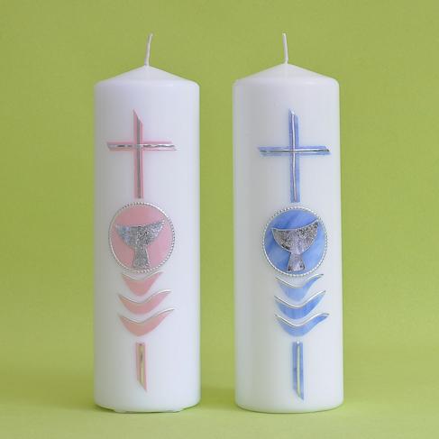 Kommunionkerze Kreuz mit Kelch (125)-0