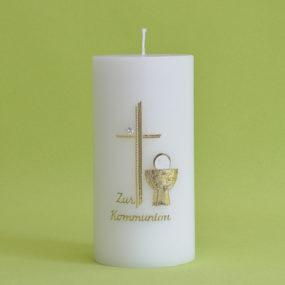 Kommunionkerze mit Stein, Kreuz und Kelch (138)-0