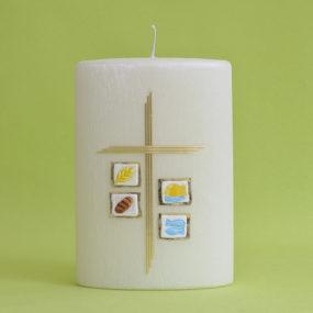 Kommunionkerze Kreuz mit 4 christlichen Motiven (183)-0