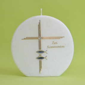 Kommunionkerze Kreuz mit Schriftzug und Fischen (186)-0