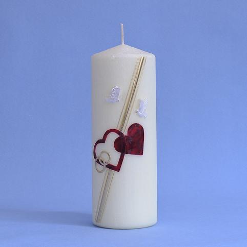 Hochzeitskerze mit 2 Herzen, Ringe und 2 Tauben (147)-0