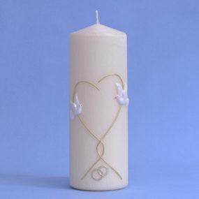 Hochzeitskerze Herz, Ringe und 2 Tauben (148)-0