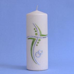 Hochzeitskerze modernes Kreuz mit Ringen (150)-0