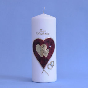 Hochzeitskerze großes Herz mit 2 kleinen Herzen und Ringen (149)-0