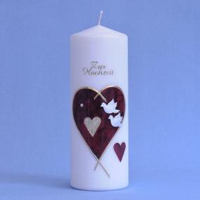 Hochzeitskerze großes Herz mit 2 kleinen Herzen und Tauben (153)-0