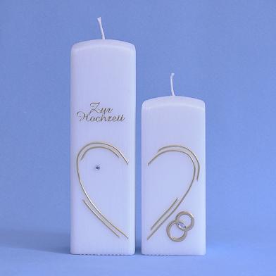 Hochzeitskerze 2 Quader mit Herz Motiv, Schriftzug und Ringe (188)-0