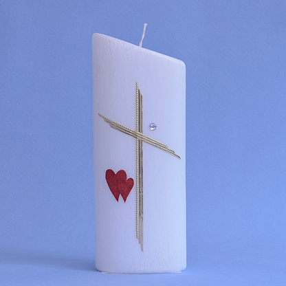 Hochzeitskerze Kreuz, Stein, 2 Herzen (194)-0