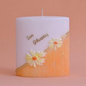 Geburtstagskerze Formkerze mit Schriftzug und Blumen mit Perle (236)-0
