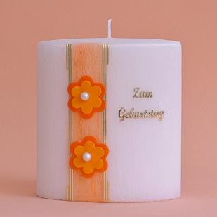 Geburtstagskerze Formkerze mit Schriftzug und Blumen mit Perle (237)-0
