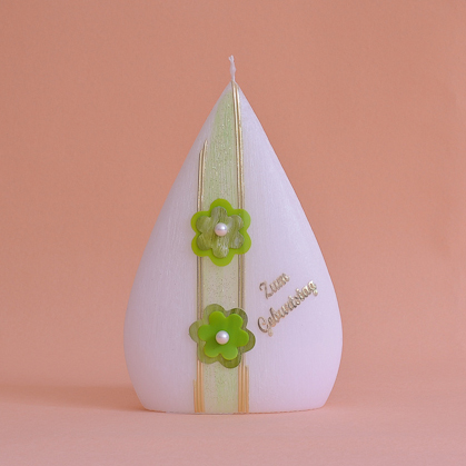 Geburtstagskerze Formkerze mit Schriftzug und Blume mit Perle (238)-0