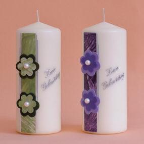 Geburtstagskerze elfenbein, Streifen mit Blumen, Perle und Schriftzug (224)-0