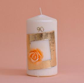 Geburtstagskerze mit Zahl, Viereck und Rose in orange (229)-0