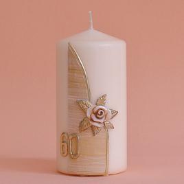 Geburtstagskerze Zahl mit Rose und aufgelegter Wachsplatte (230)-0