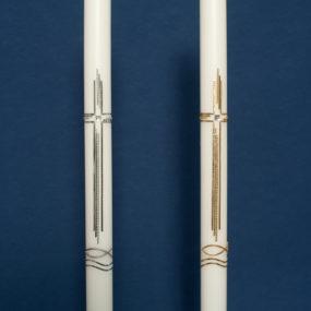 Taufkerze modernes Kreuz mit Fisch (51)-57