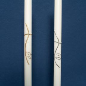 Taufkerze modernes Kreuz mit Fischen (54)-60