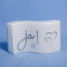 Formkerze Welle weiß gebürstet Ja-Ringe und Herz-silber--0