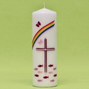 Kerze mit Kreuz, Regenbogen, Fischen und Schmetterlinge 220/70-0