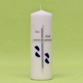 Kerze mit Kreuz, Füße und Schriftzug 220/70-0