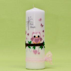 Kerze mit Kreuz, Eule und Schriftzug 220/70-0