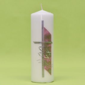 Kerze mit Kreuz, 2 Fischen und Wasserzeichen 220/70-0
