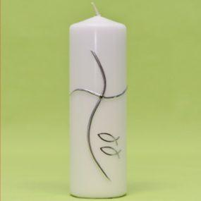 Kerze Kreuz modern und 2 Fische silber 220/70-0