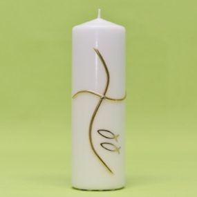 Kerze Kreuz modern und 2 Fische gold 220/70-0