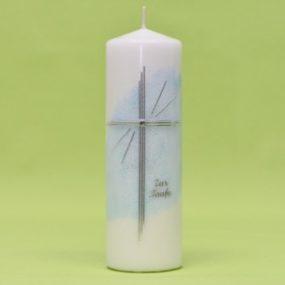 Kerze mit Kreuz und Schriftzug 220/70-0