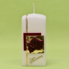 Geburtstagskerze mit Rose und Schriftzug 14x7x7-0