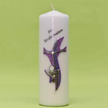 """Kerze mit Kreuz """"modern"""" und Kelch 220/70-0"""