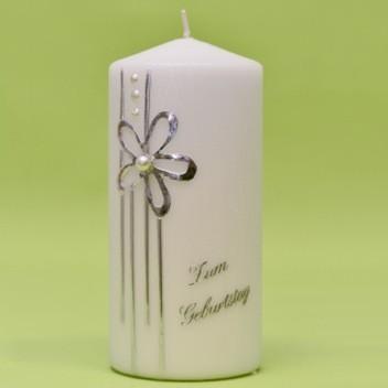 Kerze mit Blume und Perle 170/80-0