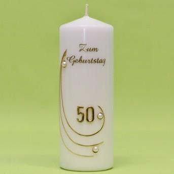 Kerze mit Zahl im Bogen und Perlen 240/80-0
