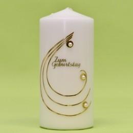 Kerze mit Zahl im Bogen und Perlen 170/80-0