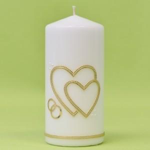 Hochzeitskerze mit 2 Herzen und Ringe 170/80-0