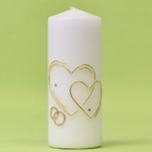 Hochzeitskerze mit 2 Herzen und Ringe 150/60-0
