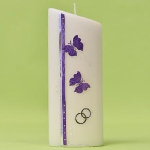 Hochzeitskerze mit 2 Schmetterlingen und Ringen-0