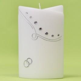 Hochzeitskerze mit Bogen, Straßsteinen und Ringen-0
